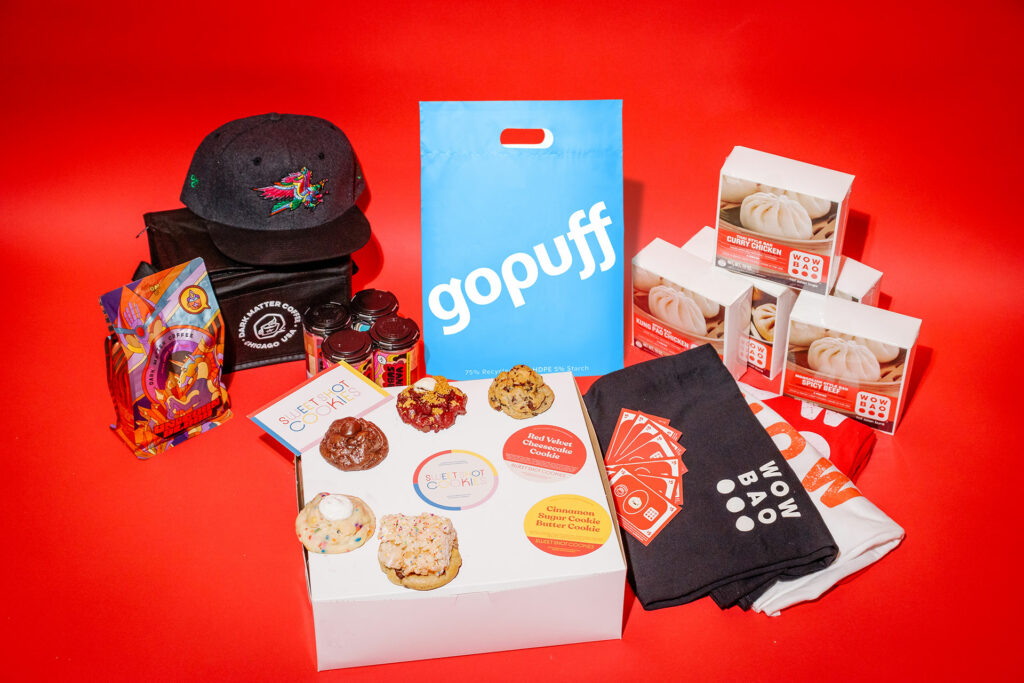 Gopuff Prize Pack with Dark Matter Coffee, Wow Bao, Sweet Shot Cookies, and a whole bunch of junk food from Gopuff!